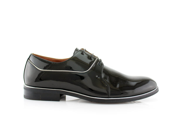 Black Patent Gloss Faux Leather Men's Casual Work Shoes Side View