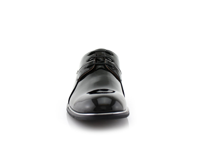 Black Patent Gloss Faux Leather Men's Casual Work Shoes Front View