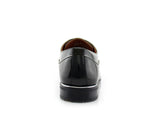 Black Patent Gloss Faux Leather Men's Casual Work Shoes Back View