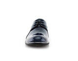 Blue Patent Gloss Faux Leather Men's Casual Work Shoes Front View