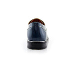 Blue Patent Gloss Faux Leather Men's Casual Work Shoes Back View