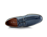 Blue Patent Gloss Faux Leather Men's Casual Work Shoes Top View