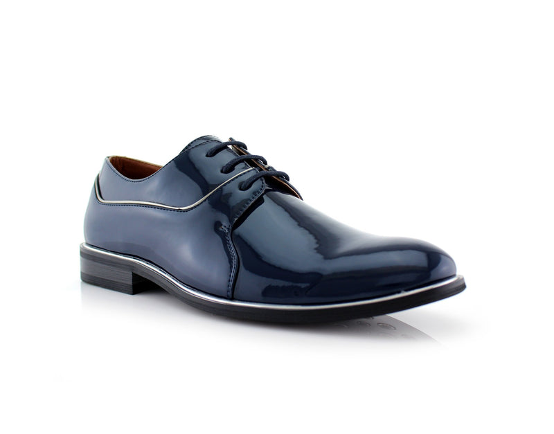 Blue Patent Gloss Faux Leather Men's Casual Work Shoes Side View