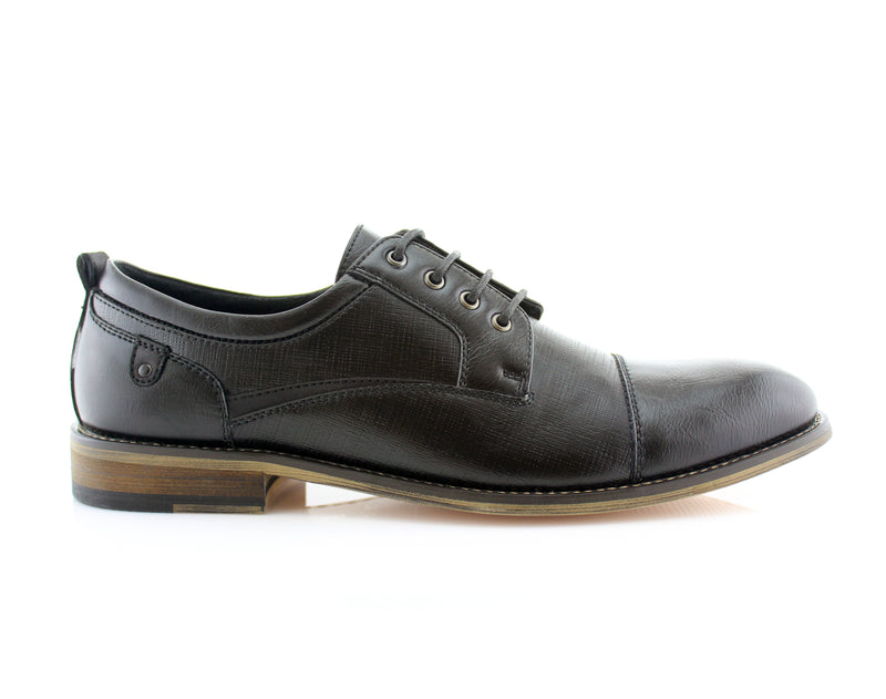 Black Embossed Oxford Men's Shoes Ferro Aldo Damian Side View