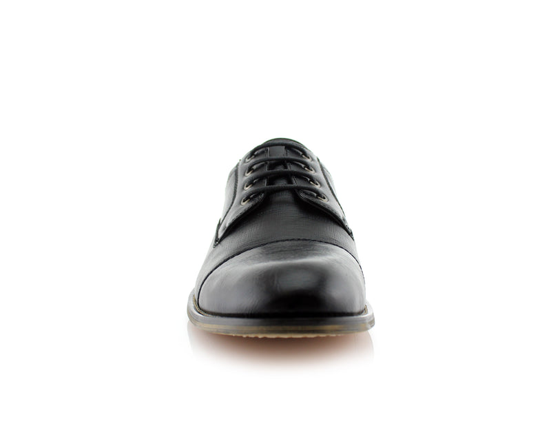 Black Embossed Oxford Men's Shoes Ferro Aldo Damian Front View