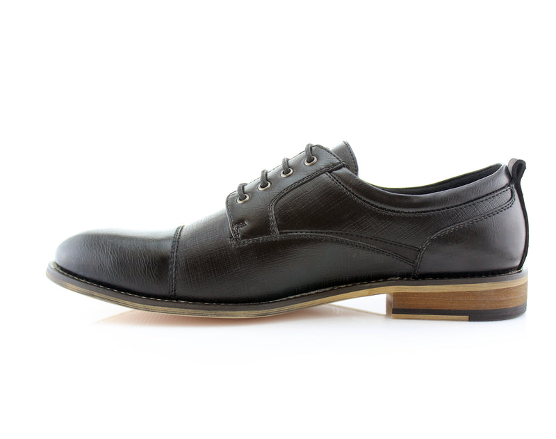 Cap Toe Lace Up Embossed Oxford Men's Shoes-Damian- Ferro Aldo - CONAL FOOTWEAR Since 1983