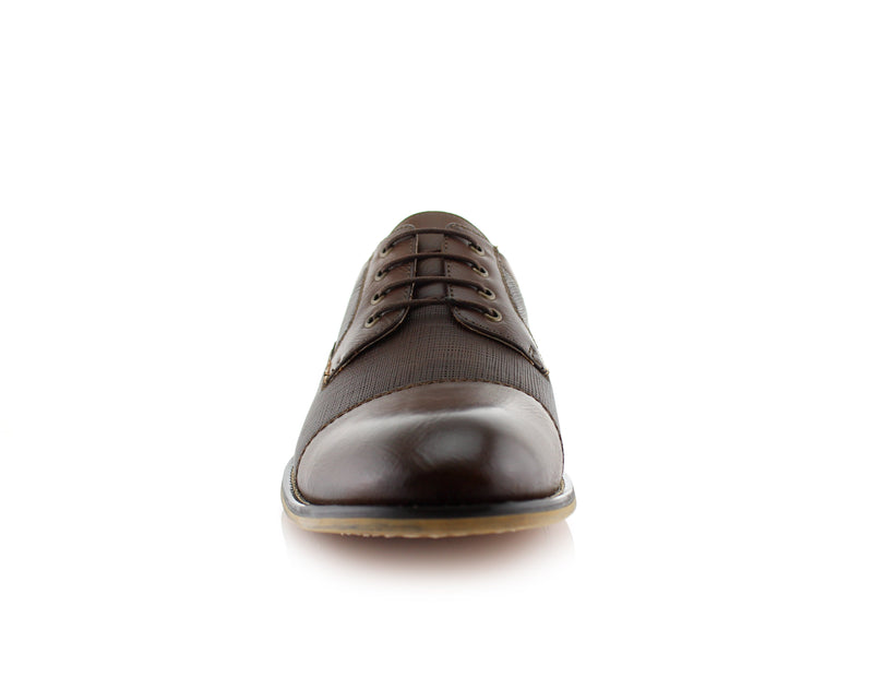 Brown Embossed Oxford Men's Shoes Ferro Aldo Damian Front View