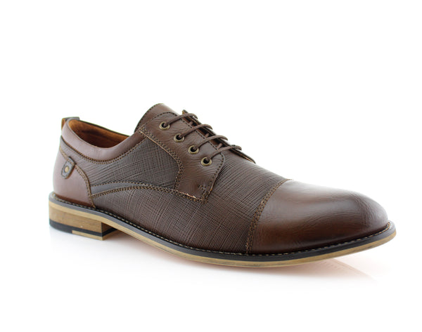 Brown Embossed Oxford Men's Shoes Ferro Aldo Damian Side View