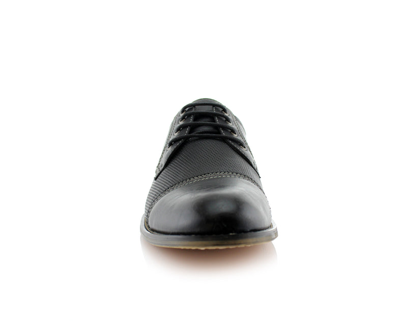 Casual Derby Man Shoes Ferro Aldo Felix Black Color Front View