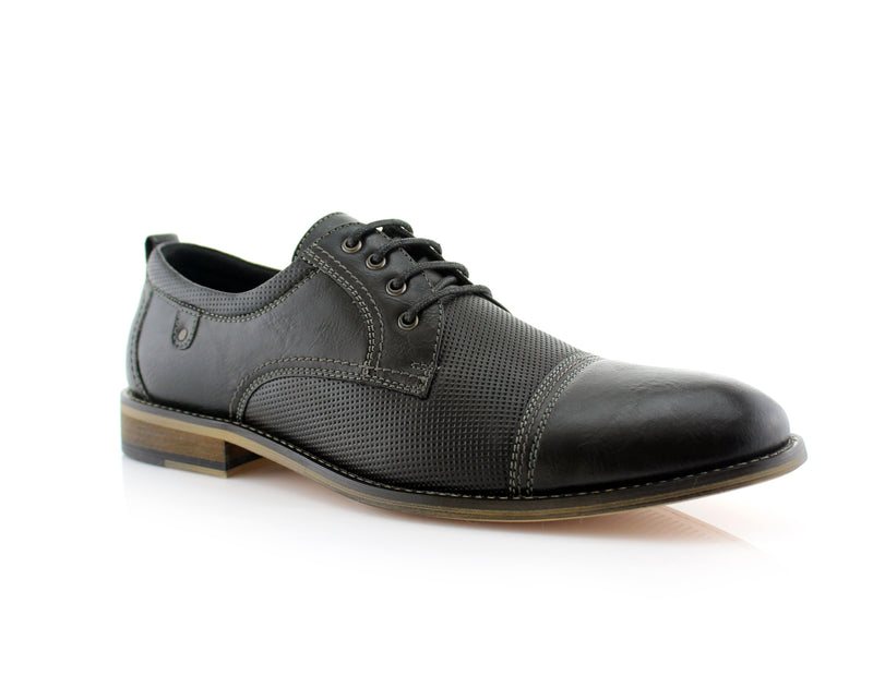 Cap Toe Perforated Leather Suede Oxford Shoes- FELIX- Ferro Aldo - CONAL FOOTWEAR Since 1983