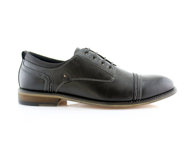 Black Burnished Derby Casual Shoes With Memory Foam Shane Side View