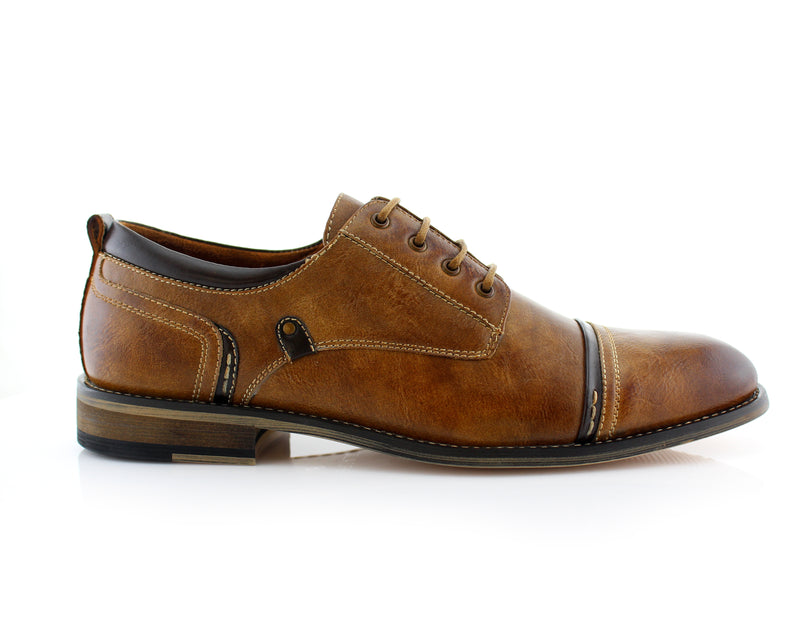 Burnished Derby Casual Shoes | Shane | Mens Cap Toe Duty Footwear | Brown Sideview