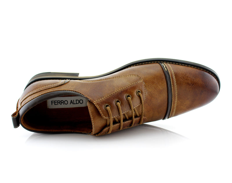 Burnished Derby Casual Shoes | Shane | Mens Cap Toe Duty Footwear | Brown Top