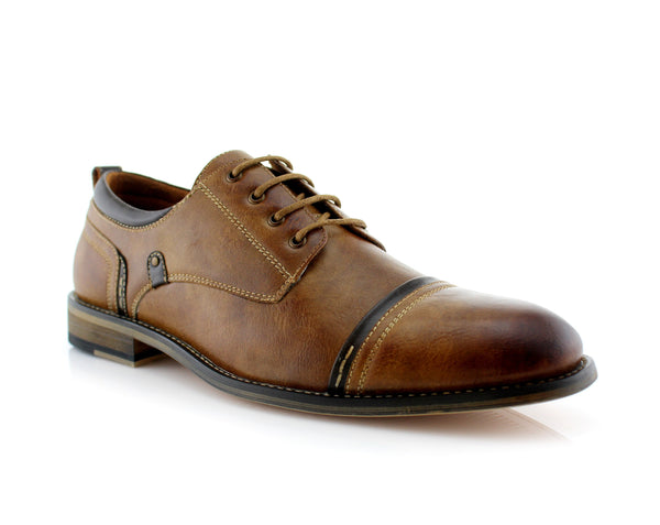 Burnished Derby Casual Shoes | Shane | Mens Cap Toe Duty Footwear | CONAL FOOTWEAR