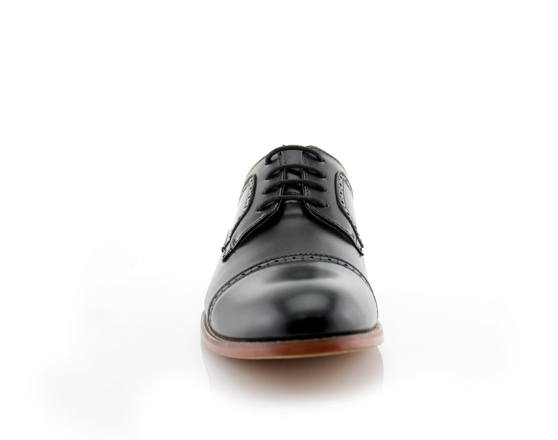 Classic Brogue Derby Perforated Black Oxford Shoes Front View