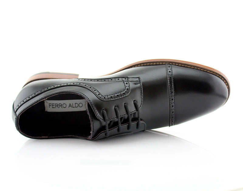 Classic Brogue Derby Perforated Black Oxford Shoes Top View