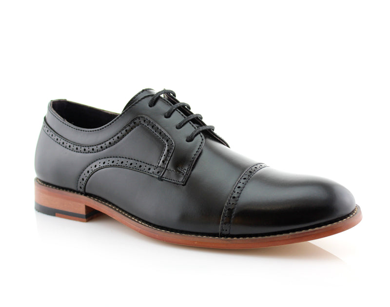 Classic Brogue Derby Perforated Black Oxford Shoes Side View