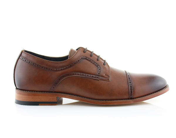 Classic Brogue Derby Perforated Brown Oxford Shoes Side View