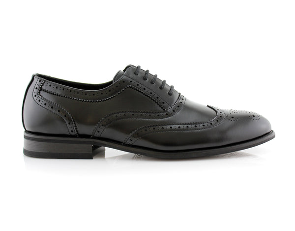 Classic Full Brogue Wingtip Dress Shoes Black Oxford Conal Footwear Shelton Side