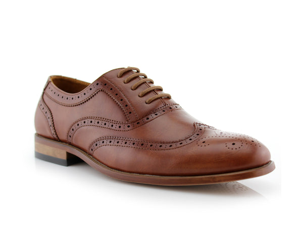 Classic Full Brogue Wingtip Dress Shoes Brown Oxford Conal Footwear Shelton Side