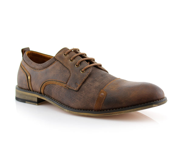 Classic Lace-Up Oxfords Vegan Leather Brown Shoes Side View Trevor