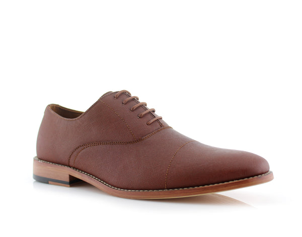 Brown Men's Classic Lace Up Oxford Shoes Garrett Side View