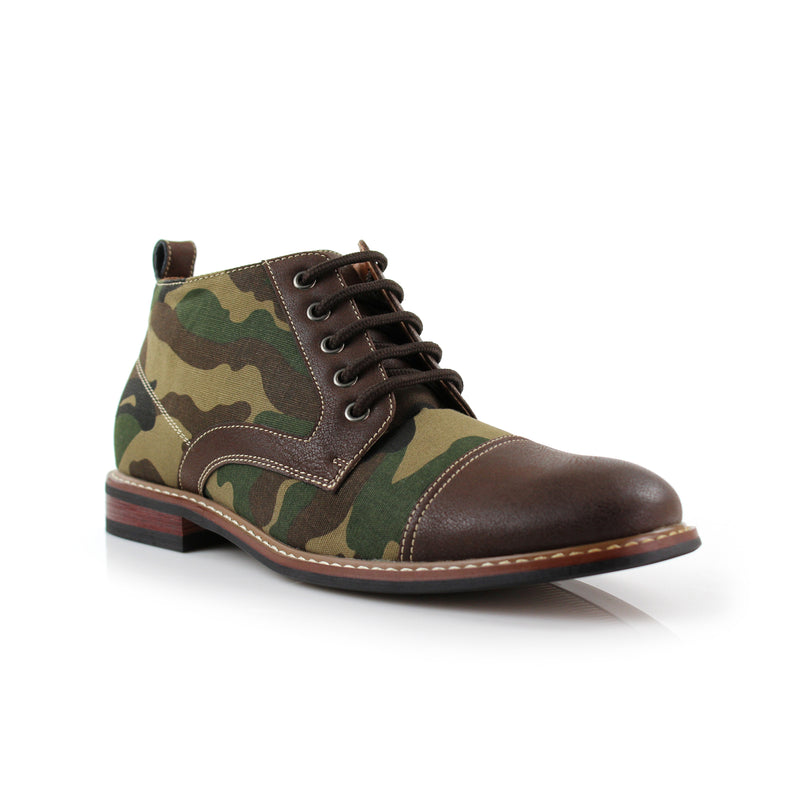 Men's Desert Sun Chukka Boot with Camouflage Pattern Fashion Shoes contrast with brown