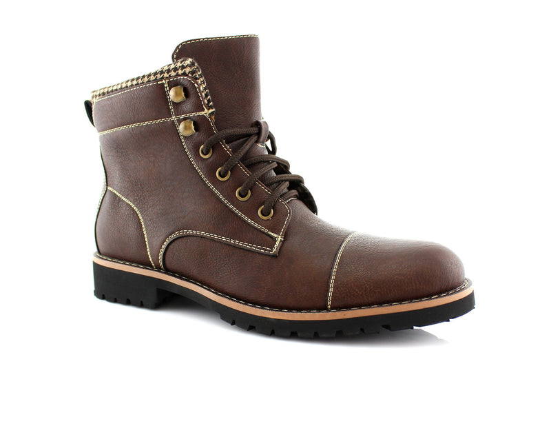 Faux Leather Men's Casual Brown Boots For Sale Calvin Side View