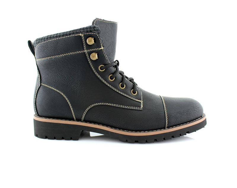 Faux Leather Men's Casual Black Boots For Sale Calvin Side View