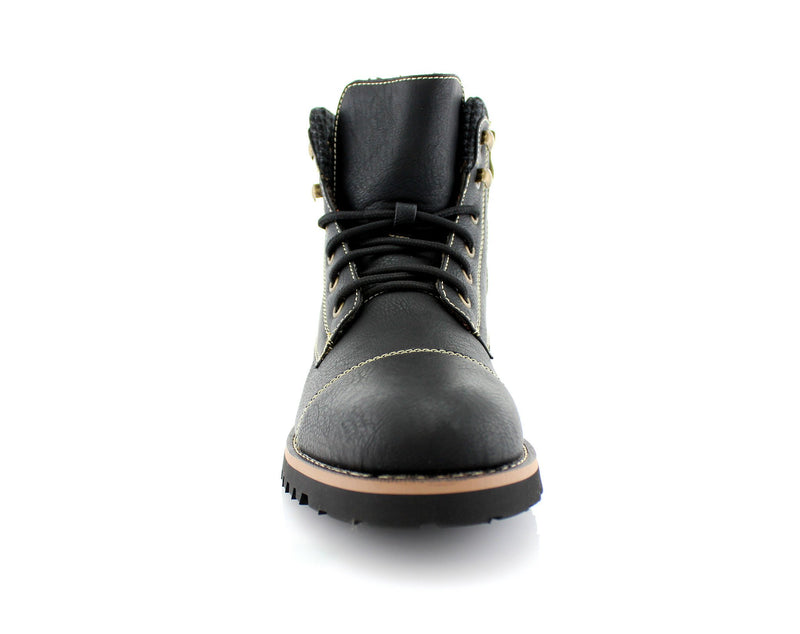 Faux Leather Men's Casual Black Boots For Sale Calvin Front View
