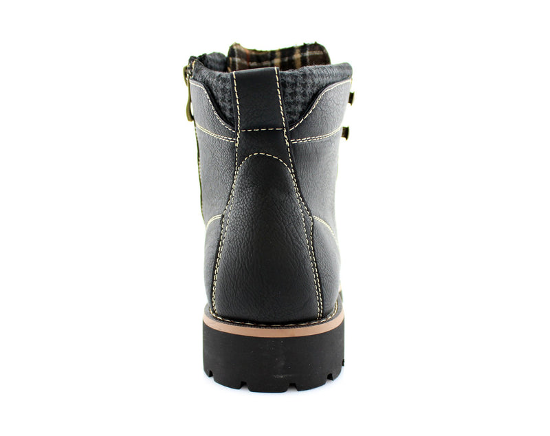 Faux Leather Men's Casual Black Boots For Sale Calvin Back View
