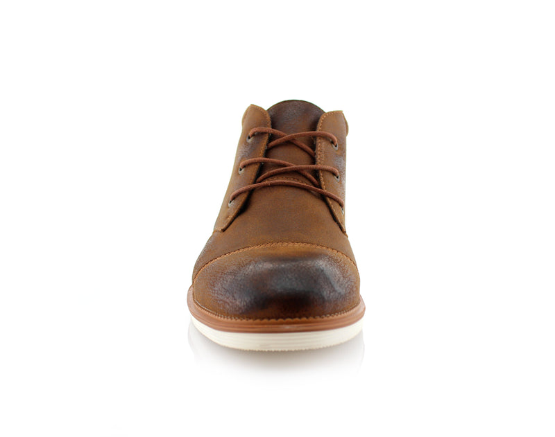 Burnished Stylish Men's Sneaker Comfortable Casual Brown Shoes Sammy Front View