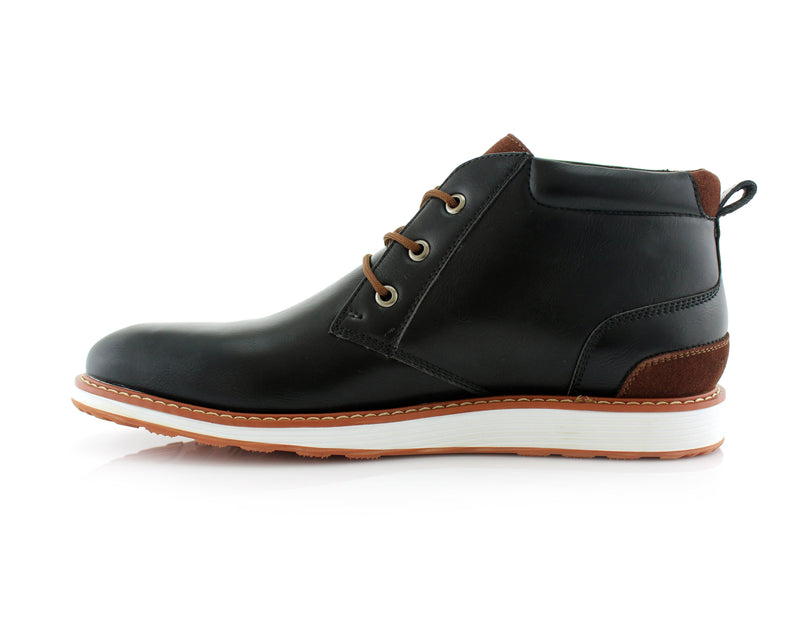Memory Foam Mid-Top Black Sneaker Boots Houstan Side View