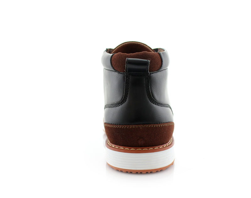 Memory Foam Casual Mid-Top Leather Sneaker Boots- HOUSTAN- Ferro Aldo - CONAL FOOTWEAR Since 1983