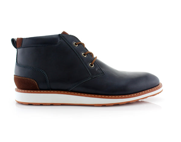 Memory Foam Mid-Top Navy Blue Sneaker Boots Houstan Side View