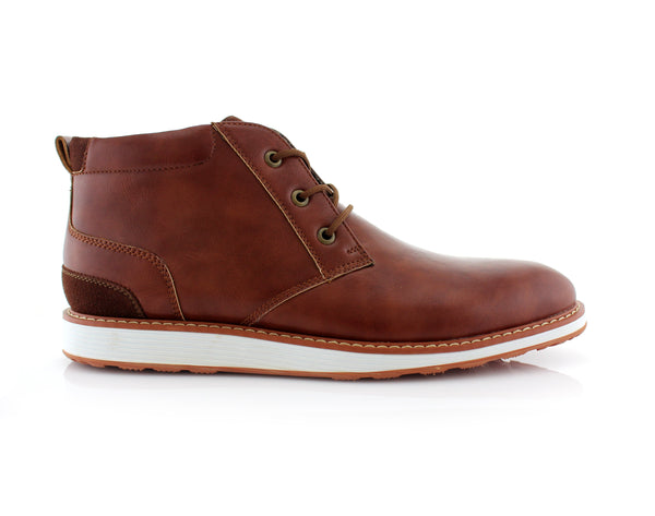 Memory Foam Mid-Top Brown Sneaker Boots Houstan Side View