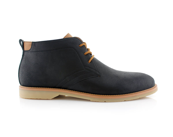 Lace Up Fashion Casual Black Chukka Marvin Side View