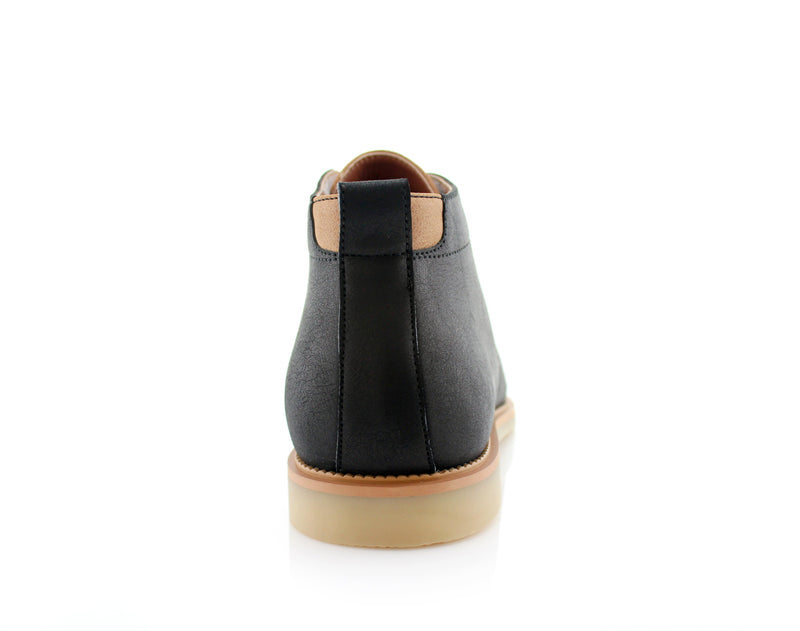 Lace Up Fashion Casual Black Chukka Marvin Back View