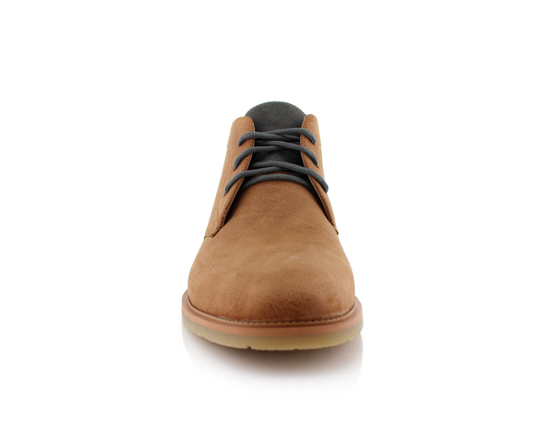Lace Up Fashion Casual Khaki Chukka Marvin Front View