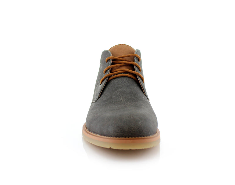 Lace Up Fashion Casual Gray Chukka Marvin Front View