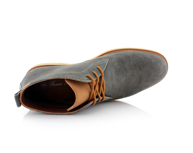 Lace Up Fashion Casual Gray Chukka Marvin Top View