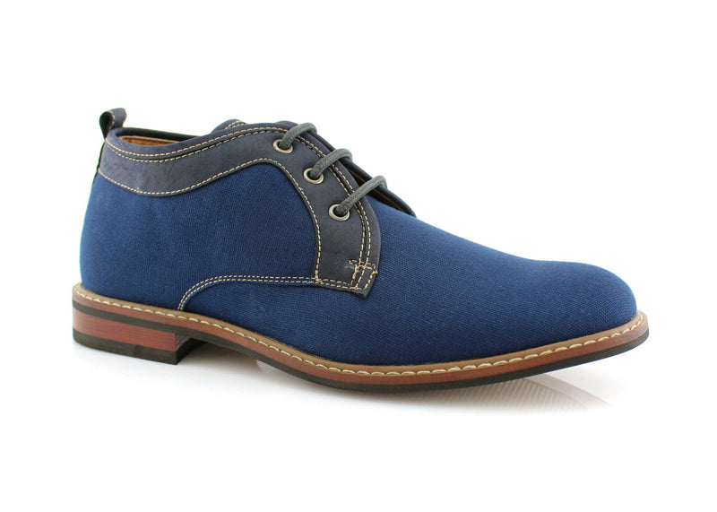 Blue Chukka Boots Mens Simple Design Suede Noah Side View