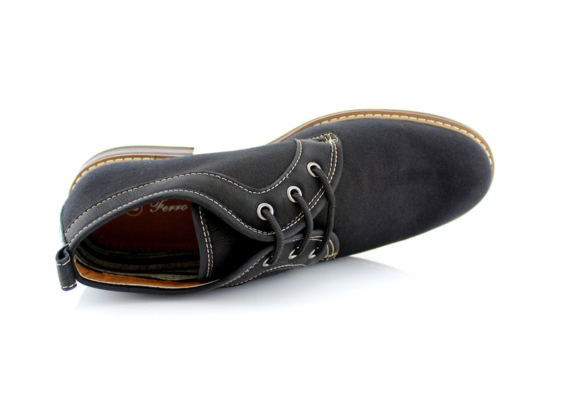 Black Chukka Boots Mens Simple Design Suede Noah Top View