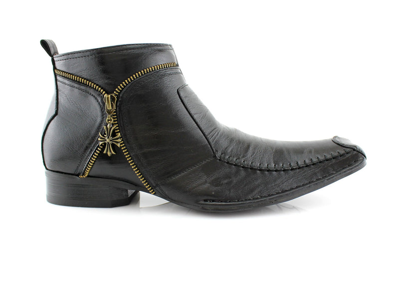Unique Men's Cowboy Square Toe Boots Side View