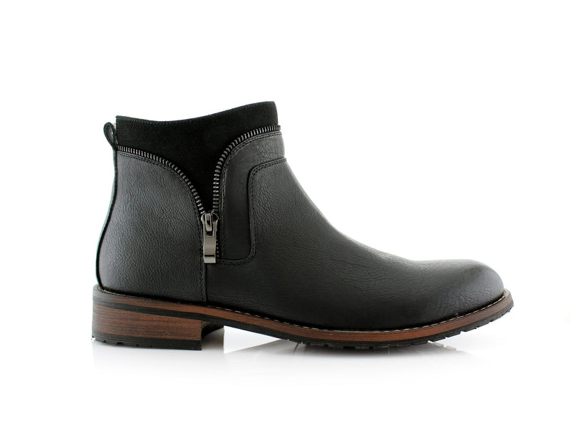 Black Side Zipper Combat Boots Mid Top Men's Footwear Side View