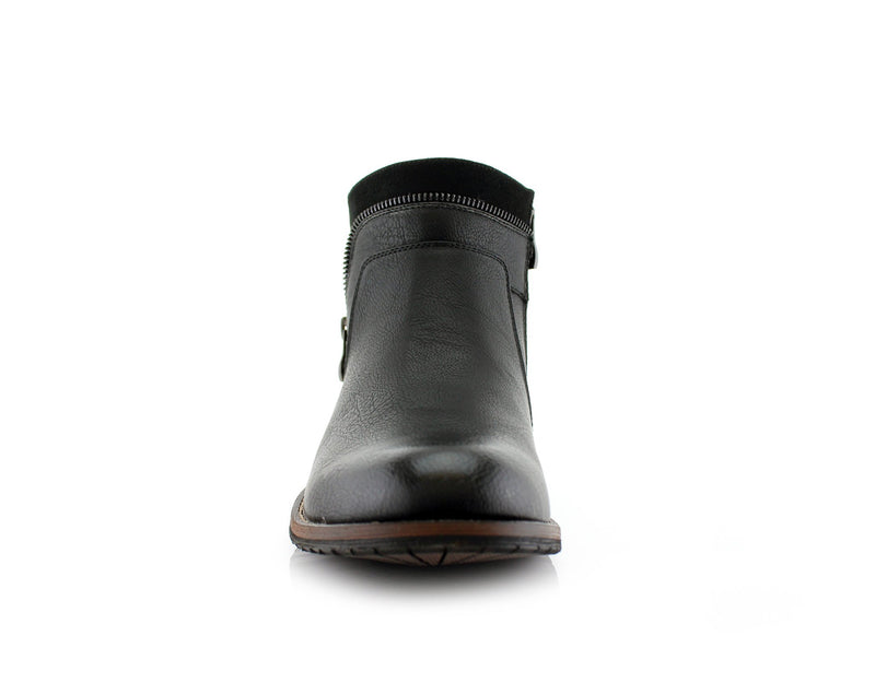 Black Side Zipper Combat Boots Mid Top Men's Footwear Front View
