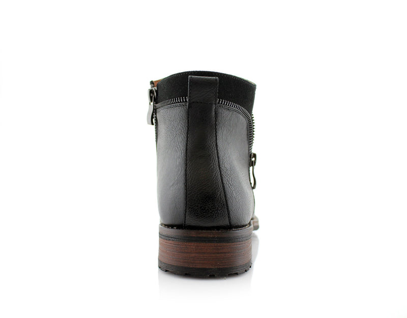 Black Side Zipper Combat Boots Mid Top Men's Footwear Back View
