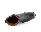 Black Side Zipper Combat Boots Mid Top Men's Footwear Top View