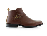 Square Toe Brown Ankle boots copper buckle side