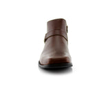 Square Toe Brown Ankle boots front